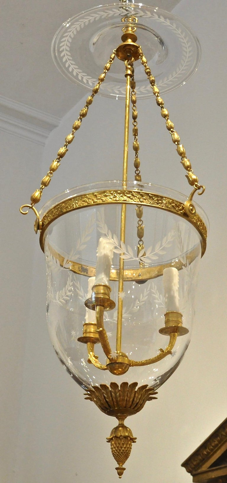 Etched Russian Gilt Bronze Neoclassical Style Bell Jar Hall Lantern For Sale