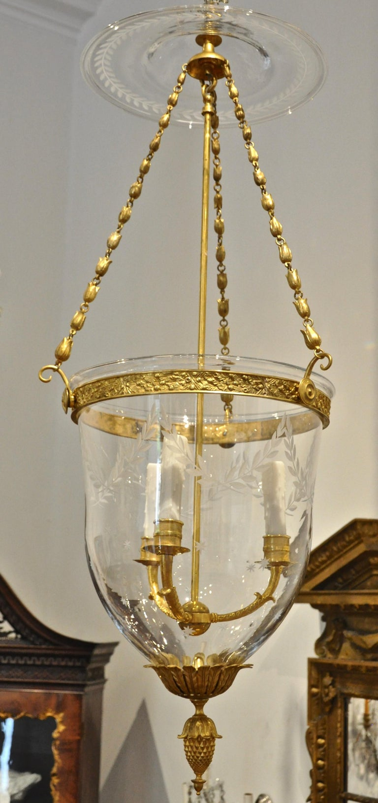 Russian Gilt Bronze Neoclassical Style Bell Jar Hall Lantern In Good Condition For Sale In Essex, MA
