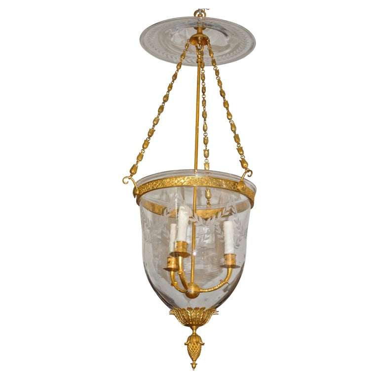 Russian Gilt Bronze Neoclassical Style Bell Jar Hall Lantern For Sale