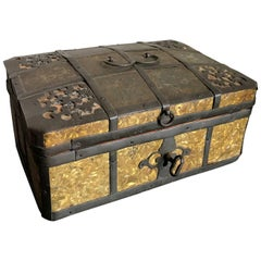Russian Gilt Iron-Bound Box with Original Key