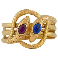 Russian Gold and Gemset Twin Serpent Ring