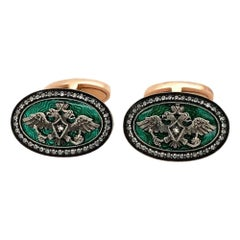 Russian Gold Diamond Enamel Cufflinks