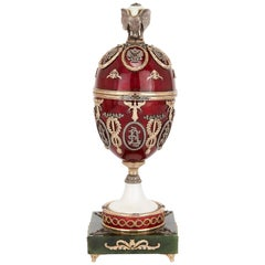 Russian Gold, Diamond, Nephrite and Enameled Egg in the Style of Faberge