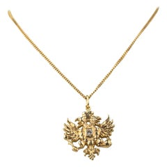 Russian Gold Diamond Romanov Eagle Pendant by Marie Betteley
