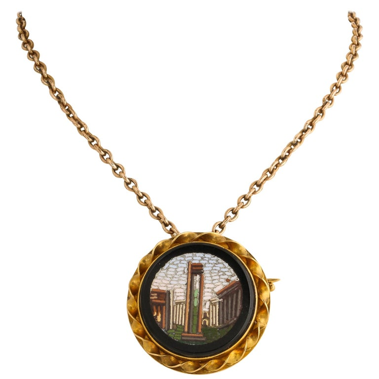 Russian Gold Micro-Mosaic Pin by Blumenthaller, circa 1880 For Sale