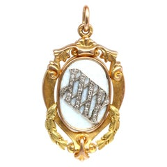 Russian Guilloche Enamel Gold Diamonds 56 Hallmark Cyrillic Pendant, 1916