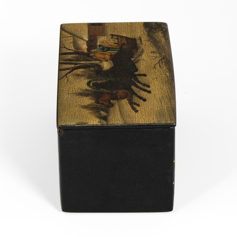 Russian Hand-Painted Lacquered Tea Box For Sale 2
