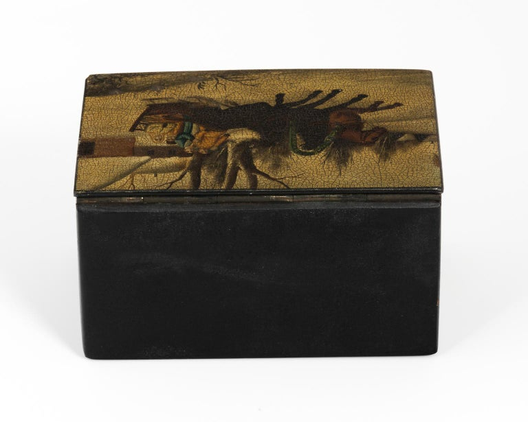 Russian Hand-Painted Lacquered Tea Box For Sale 3
