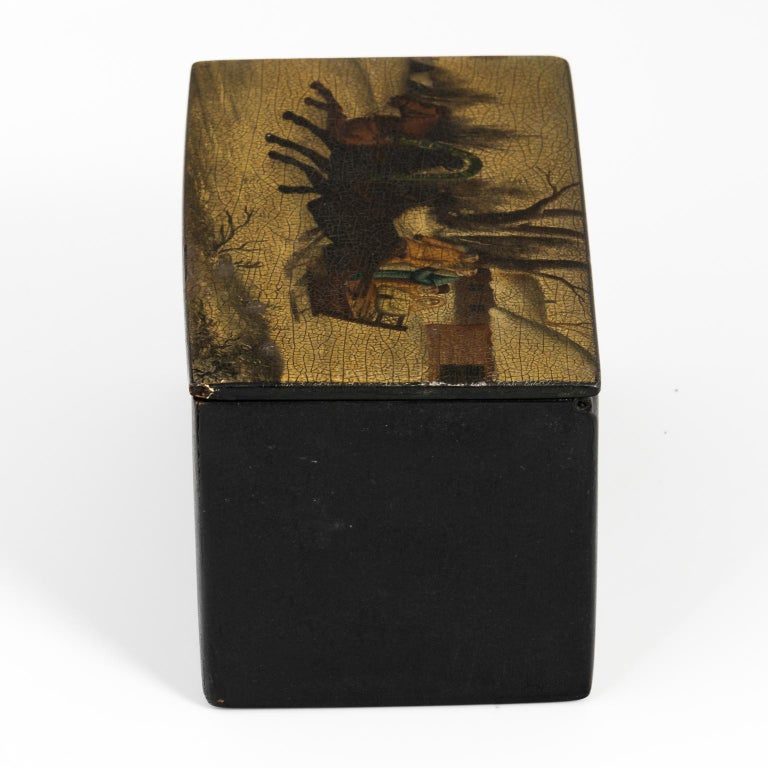 Russian Hand-Painted Lacquered Tea Box For Sale 4