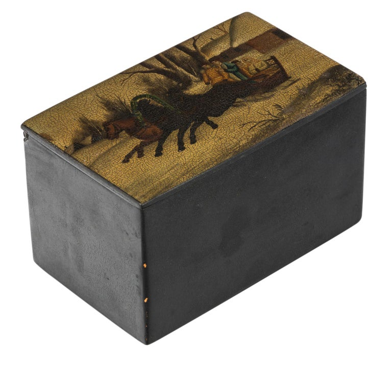 Russian Hand-Painted Lacquered Tea Box For Sale