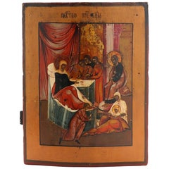 Russian Icon Depicting the Birth of the Virgin Mary, 19th Century