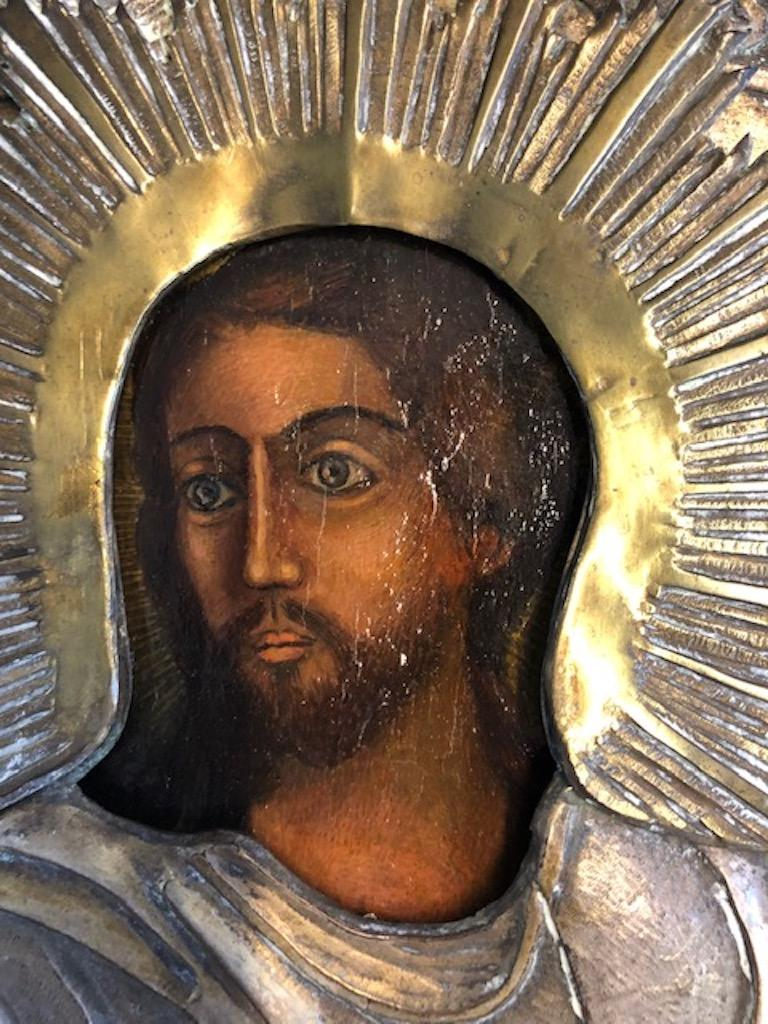 Russian Icon of Christ Pantocrator In Good Condition For Sale In Houston, TX