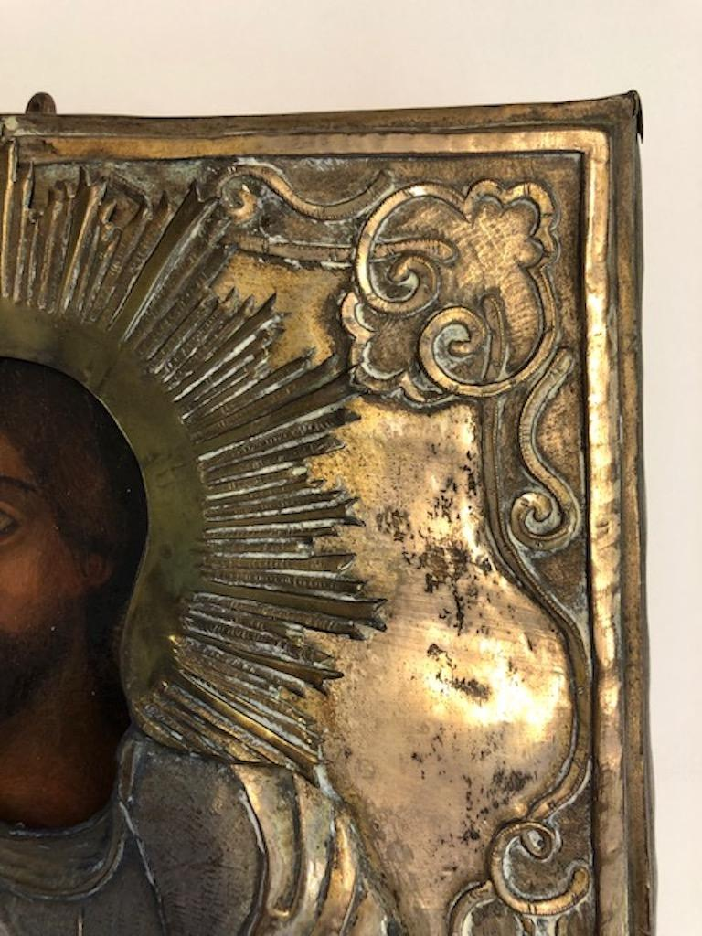 Wood Russian Icon of Christ Pantocrator For Sale