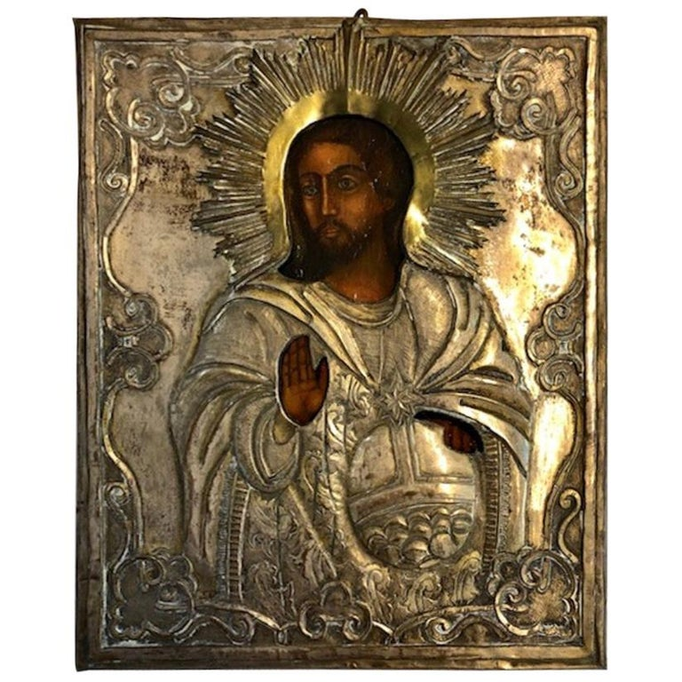 Russian Icon of Christ Pantocrator For Sale