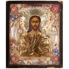 Russian icon of Christ Pantocrator in frame