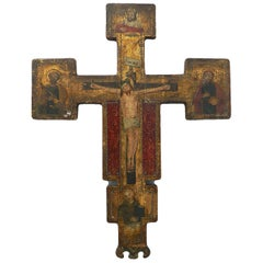 Russian Icon Painted Naive Crucifix, Late 19th Century