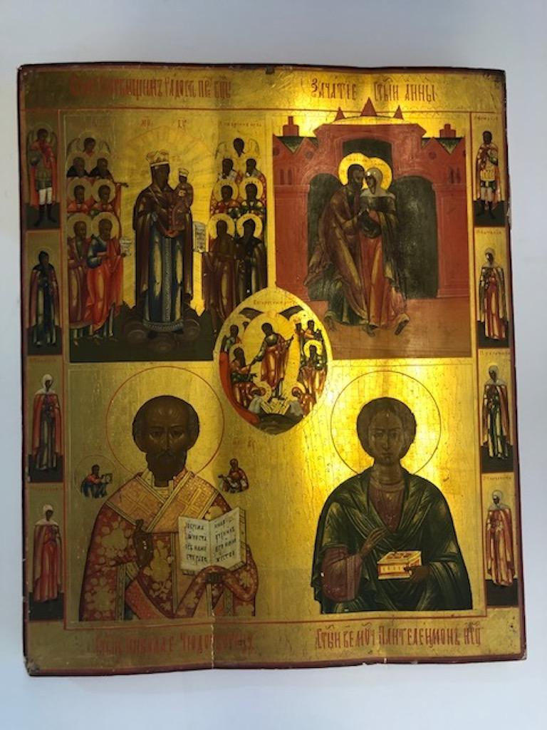 Russian icon with 3 religious scenes  and 10 saints  Icon is done with oil paint on 3 wooden panels, connected together on the back. Background is covered with a gold leaf. In the middle there is a scene of the Christ's Resurrection. It is
