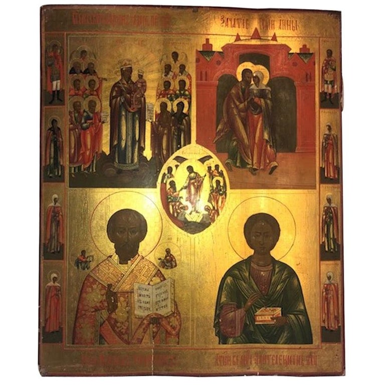 Russian Icon with 3 Religious Scenes and 10 Saints For Sale