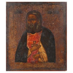 Russian Icon with a Saint, Tempera on Wood, 19th Century