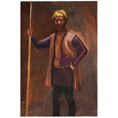 Russian Inspired Portrait Painting of a Man with Yellow Turban