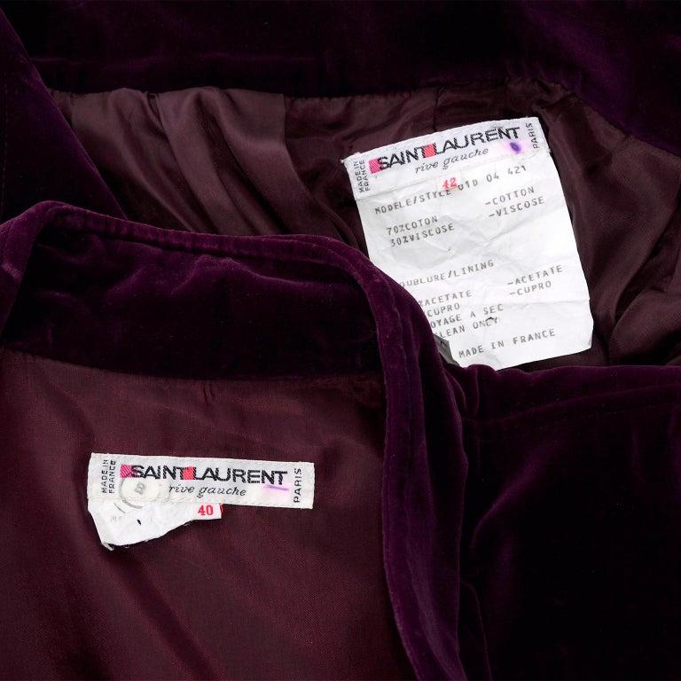 Russian Inspired Vintage YSL Evening Outfit w/ Skirt & Jacket in Burgundy Velvet For Sale 6