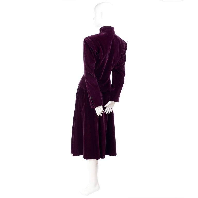 Russian Inspired Vintage YSL Evening Outfit w/ Skirt & Jacket in Burgundy Velvet In Excellent Condition For Sale In Portland, OR