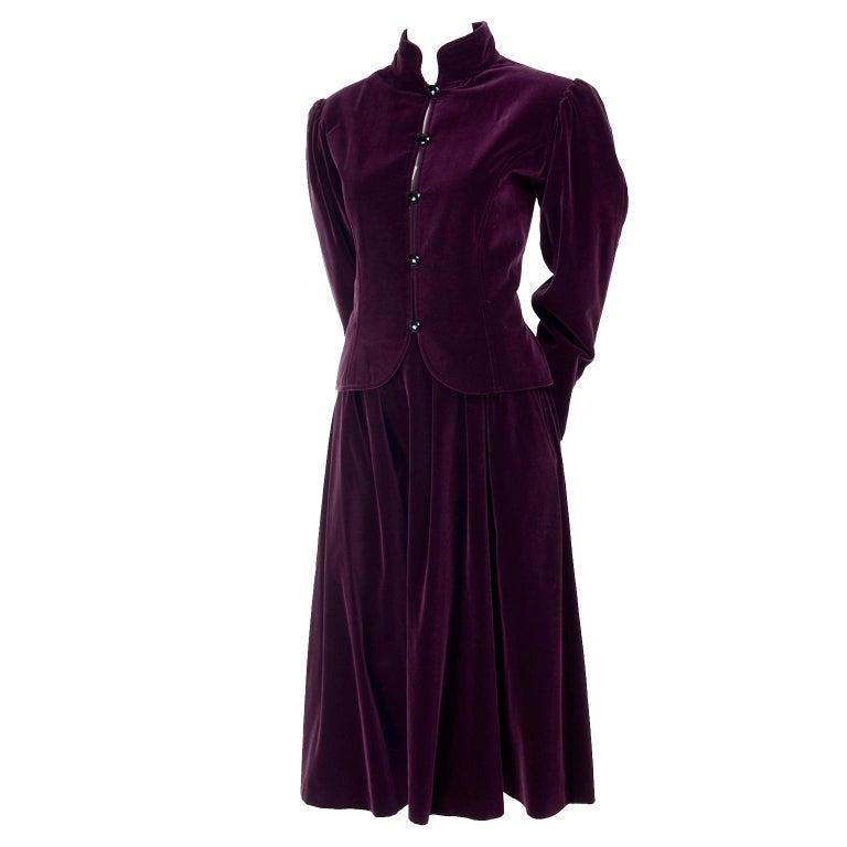 Women's Russian Inspired Vintage YSL Evening Outfit w/ Skirt & Jacket in Burgundy Velvet For Sale