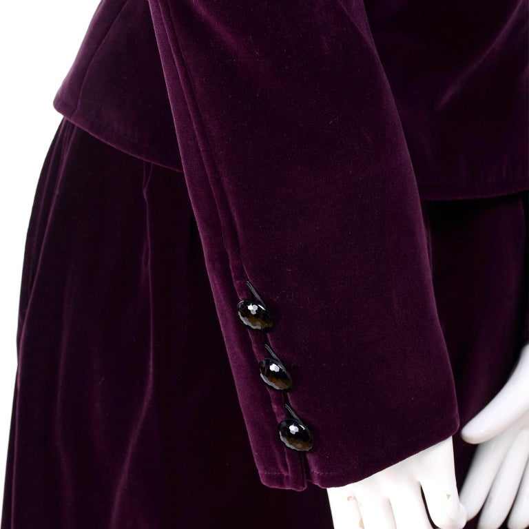 Russian Inspired Vintage YSL Evening Outfit w/ Skirt & Jacket in Burgundy Velvet For Sale 2