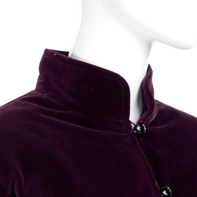Russian Inspired Vintage YSL Evening Outfit w/ Skirt & Jacket in Burgundy Velvet For Sale 4
