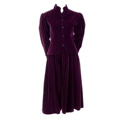 Russian Inspired Vintage YSL Evening Outfit w/ Skirt & Jacket in Burgundy Velvet