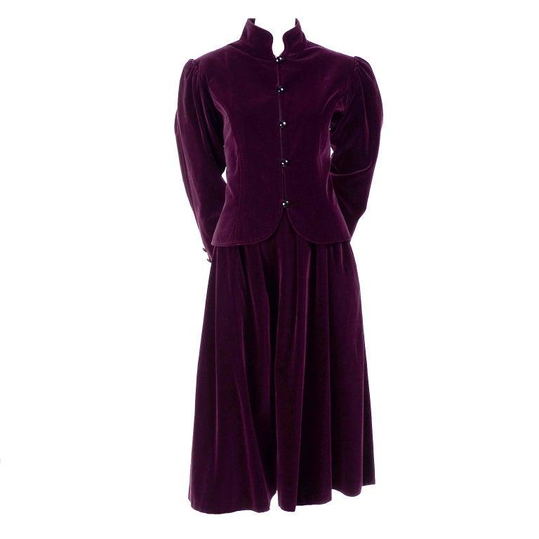 Russian Inspired Vintage YSL Evening Outfit w/ Skirt & Jacket in Burgundy Velvet For Sale