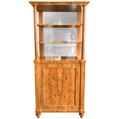 Russian Karelian Birch Mirrored Vitrine or Cabinet