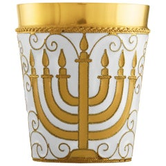Russian Kiddush Cup Menorah 24 Karat Gold Plated Sterling Silver with Enamel