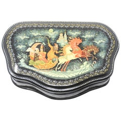Russian Lacquer Box with Flying Chariot