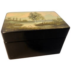 Russian Lacquer Snuff Box Hand Painted, Vintage
