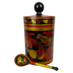 Russian Lacquered Linden Wood Tea Cannister with Matching Spoon