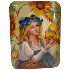 Russian Lacquered Small Decorative Box 'Girl with Sunflowers' by Fedoskino