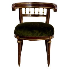 Russian Mahogany and Brass Desk Chair