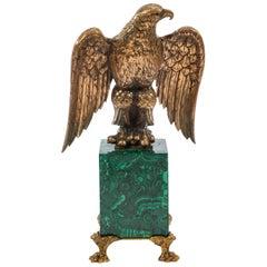 Russian Malachite and Gilt Bronze Eagle Center Piece