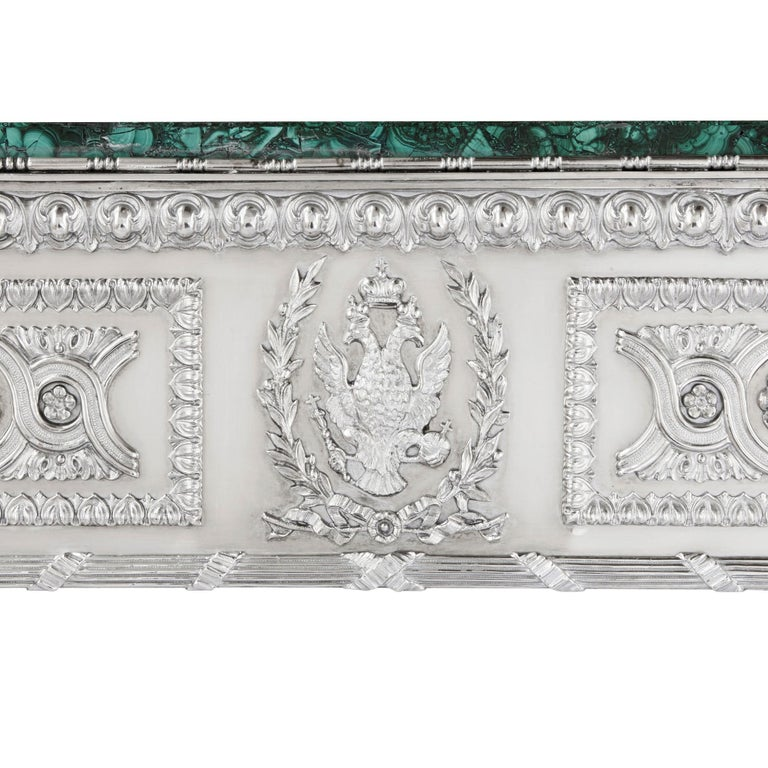 Neoclassical Russian Malachite and Silver Table by Imperial Silversmiths the Grachev Brothers For Sale