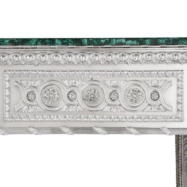 Russian Malachite and Silver Table by Imperial Silversmiths the Grachev Brothers In Good Condition For Sale In London, GB