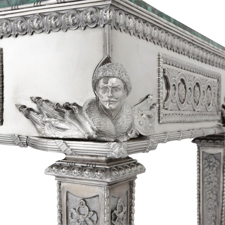 19th Century Russian Malachite and Silver Table by Imperial Silversmiths the Grachev Brothers For Sale