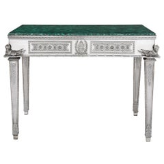 Russian Malachite and Silver Table by Imperial Silversmiths the Grachev Brothers