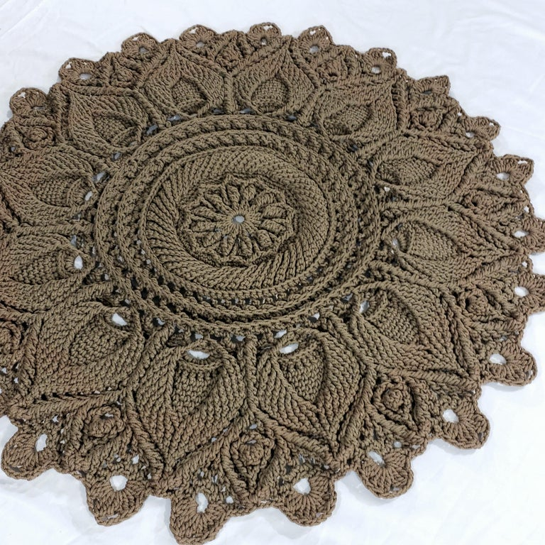 Brown Russian Mandala Crochet Layered Round Rug Tan Polyester Cord, Traditional Style For Sale