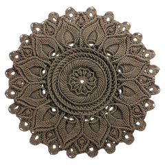 Russian Mandala Crochet Layered Round Rug Tan Polyester Cord, Traditional Style