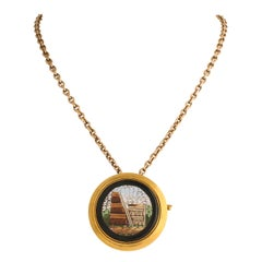 Russian Micro-Mosaic Gold-Mounted Pin/Pendant by Nicholls & Plinke, circa 1880