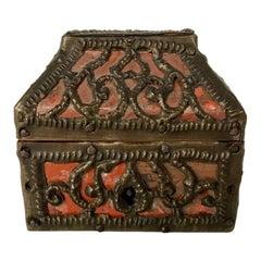 Russian Miniature Pierced Brass and Mica Box