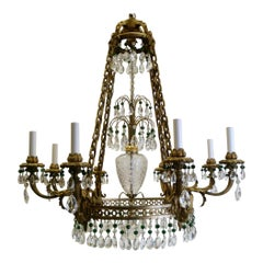 Russian Neoclassical or Baltic Style Bronze and Crystal Chandelier