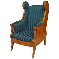 Russian Neoclassic Karelian Birch Silk Winged Arm Chair