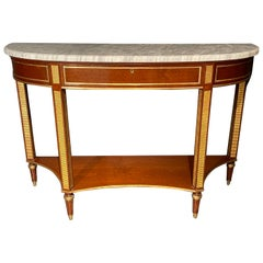 Russian Neoclassical Console / Sofa Table or Sideboard, Demilune